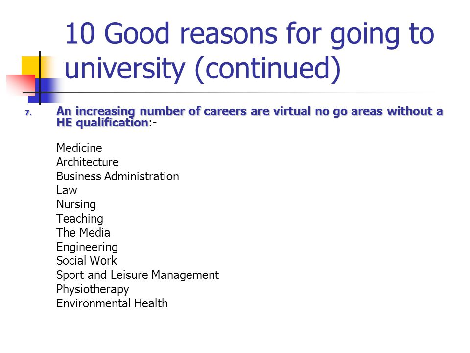 10 Good reasons for going to university (continued) 8.