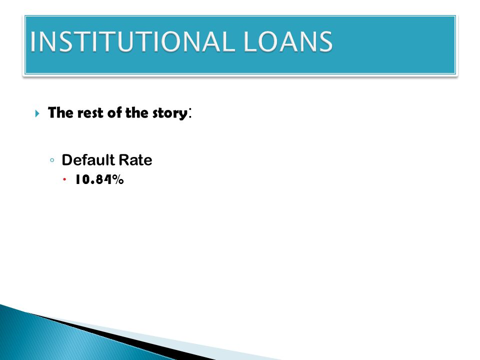  The rest of the story : ◦ Default Rate  10.84%