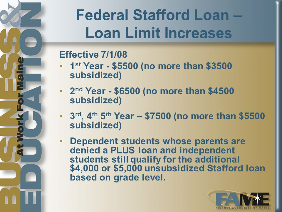 Federal Stafford Loan – Loan Limit Increases Effective 7/1/08 1 st Year - $5500 (no more than $3500 subsidized) 2 nd Year - $6500 (no more than $4500 subsidized) 3 rd, 4 th 5 th Year – $7500 (no more than $5500 subsidized) Dependent students whose parents are denied a PLUS loan and independent students still qualify for the additional $4,000 or $5,000 unsubsidized Stafford loan based on grade level.