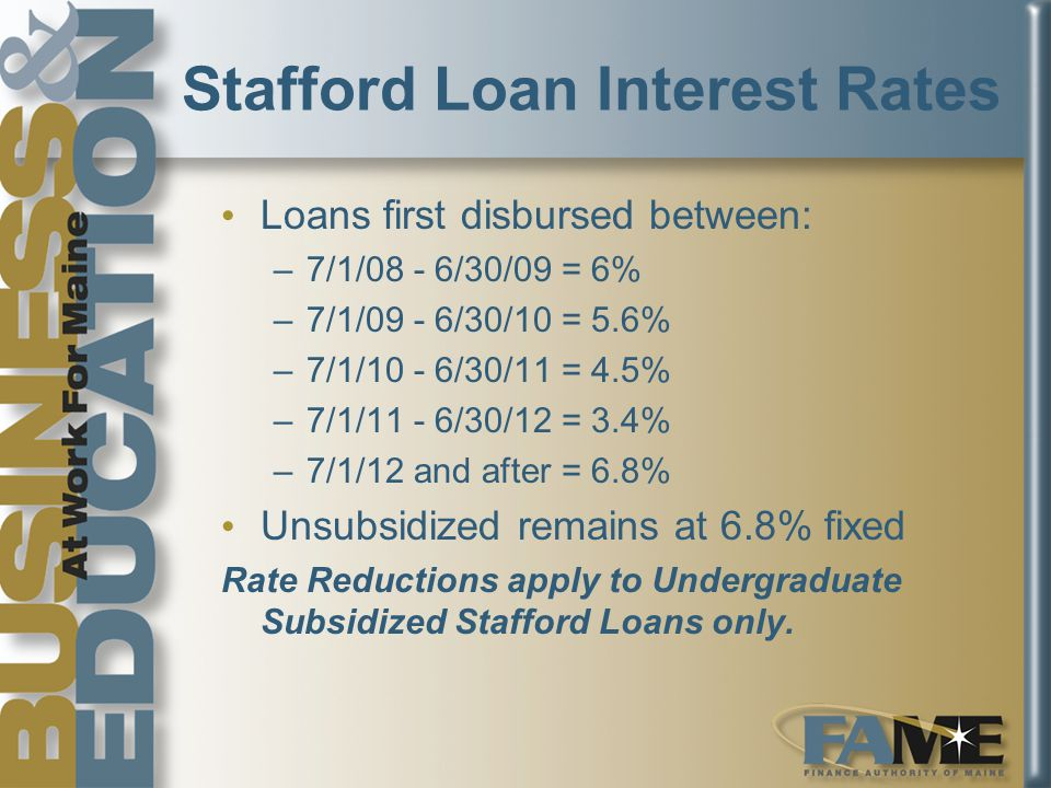 Stafford Loan Interest Rates Loans first disbursed between: –7/1/08 - 6/30/09 = 6% –7/1/09 - 6/30/10 = 5.6% –7/1/10 - 6/30/11 = 4.5% –7/1/11 - 6/30/12 = 3.4% –7/1/12 and after = 6.8% Unsubsidized remains at 6.8% fixed Rate Reductions apply to Undergraduate Subsidized Stafford Loans only.