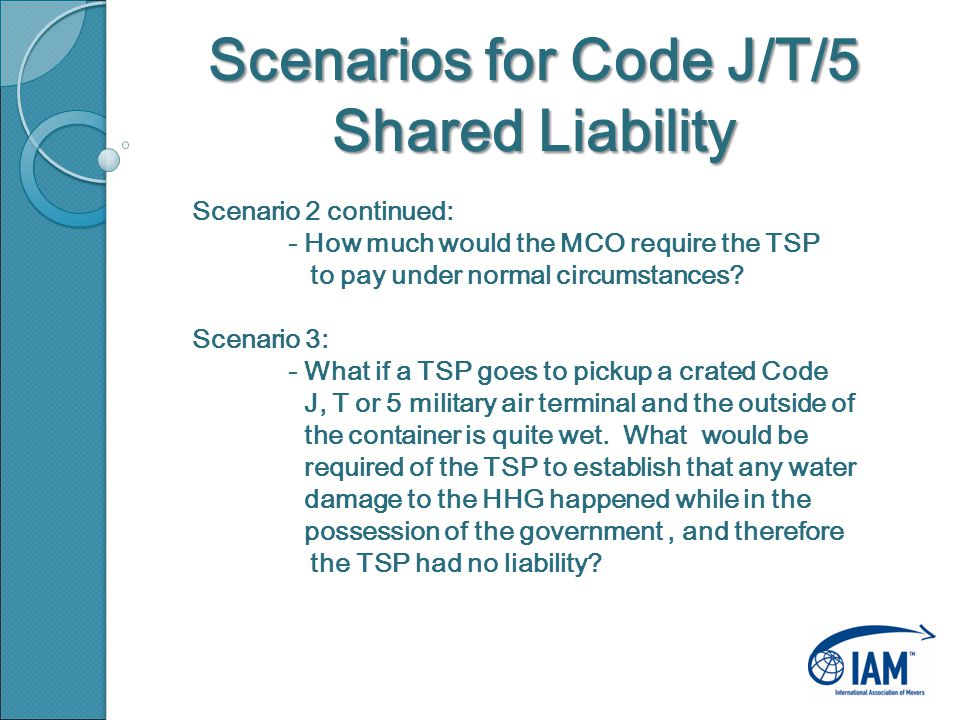 Scenarios for Code J/T/5 Shared Liability Scenario 2 continued: - How much would the MCO require the TSP to pay under normal circumstances.