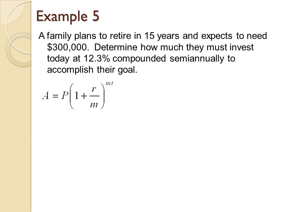Example 5 A family plans to retire in 15 years and expects to need $300,000.