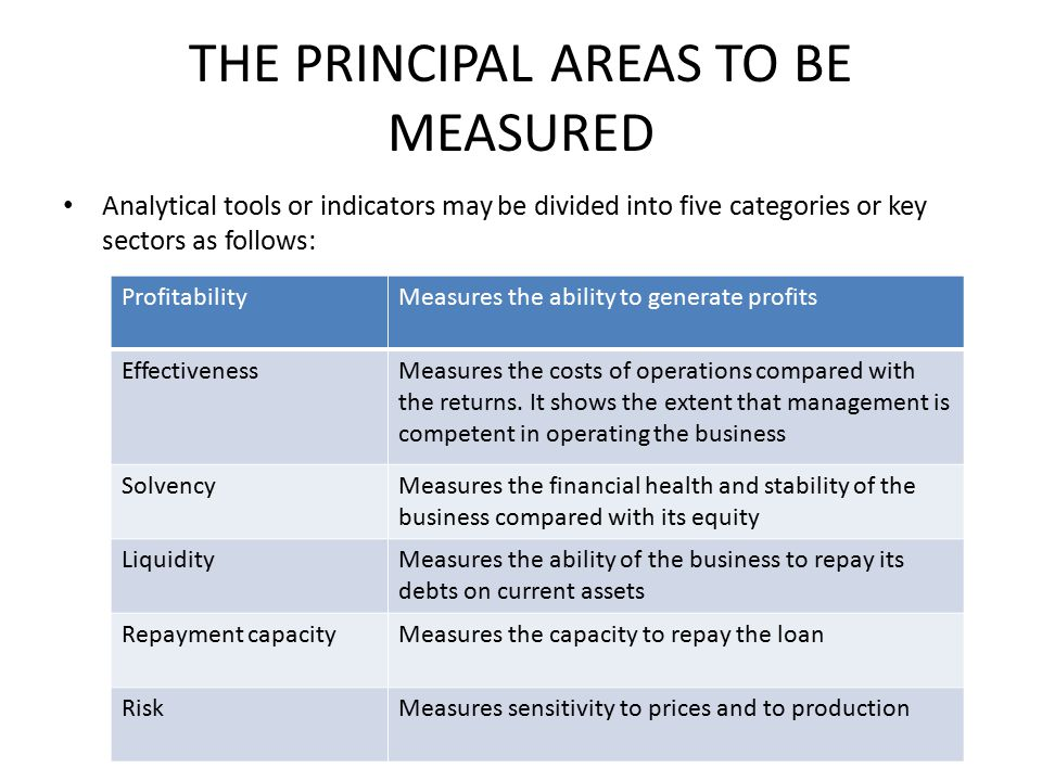 THE PRINCIPAL AREAS TO BE MEASURED Analytical tools or indicators may be divided into five categories or key sectors as follows: ProfitabilityMeasures the ability to generate profits EffectivenessMeasures the costs of operations compared with the returns.