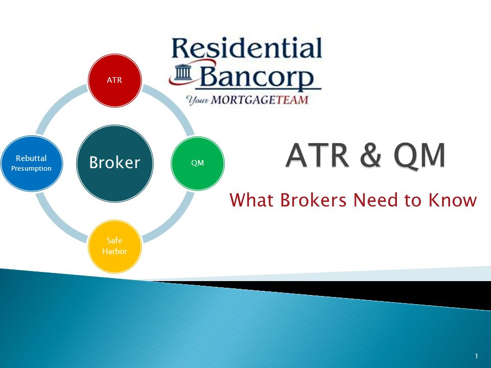 What Brokers Need to Know Broker ATRQM Safe Harbor Rebuttal Presumption 1