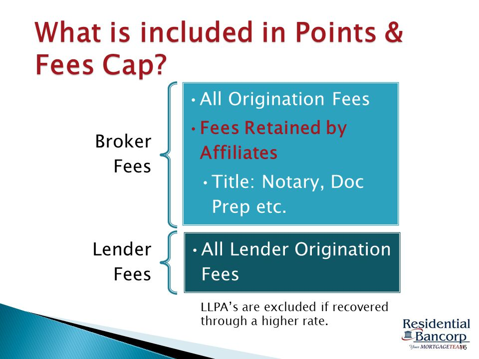 What is included in Points & Fees Cap. LLPA's are excluded if recovered through a higher rate.