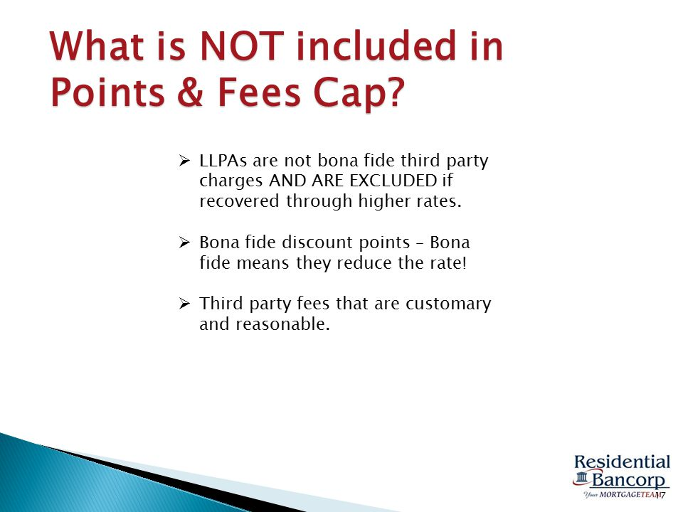 What is NOT included in Points & Fees Cap.