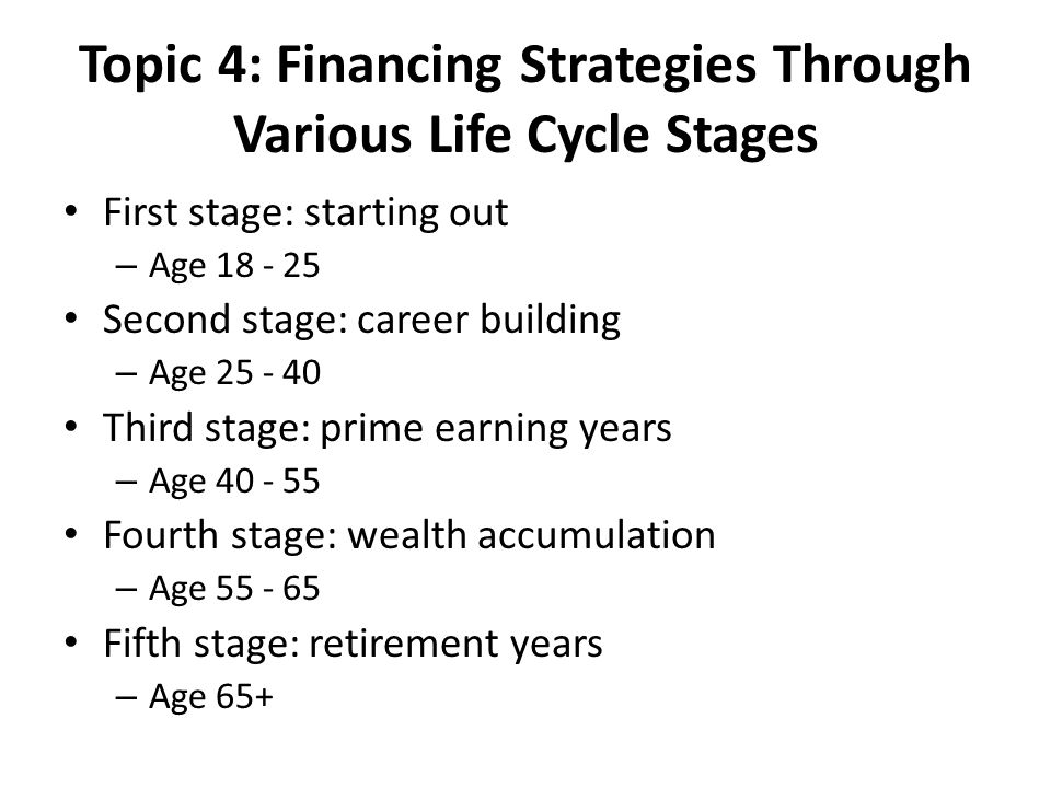 Topic 4: Financing Strategies Through Various Life Cycle Stages First stage: starting out – Age 18 - 25 Second stage: career building – Age 25 - 40 Third stage: prime earning years – Age 40 - 55 Fourth stage: wealth accumulation – Age 55 - 65 Fifth stage: retirement years – Age 65+