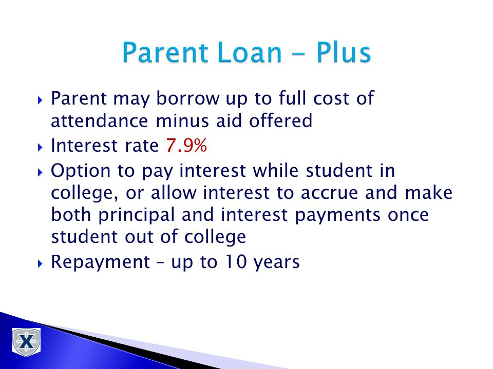  Parent may borrow up to full cost of attendance minus aid offered  Interest rate 7.9%  Option to pay interest while student in college, or allow interest to accrue and make both principal and interest payments once student out of college  Repayment – up to 10 years