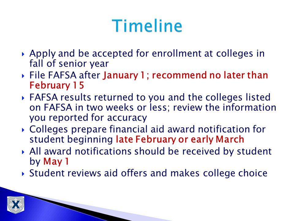  Apply and be accepted for enrollment at colleges in fall of senior year  File FAFSA after January 1; recommend no later than February 15  FAFSA results returned to you and the colleges listed on FAFSA in two weeks or less; review the information you reported for accuracy  Colleges prepare financial aid award notification for student beginning late February or early March  All award notifications should be received by student by May 1  Student reviews aid offers and makes college choice