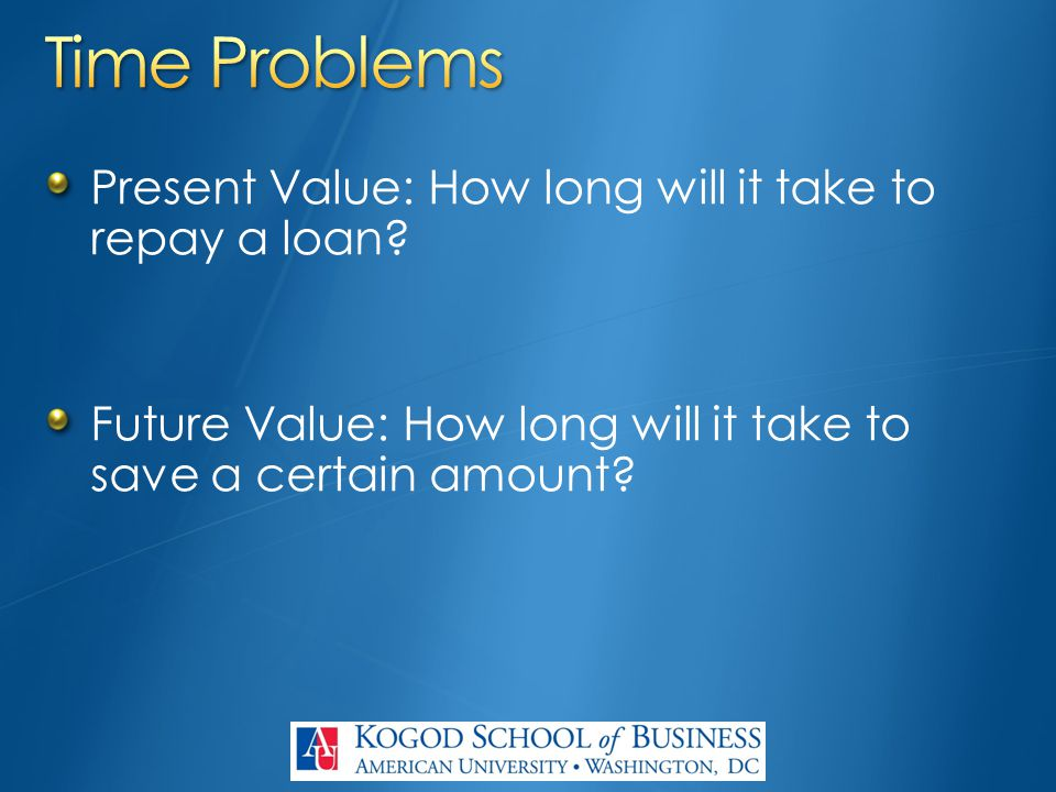 Present Value: How long will it take to repay a loan.