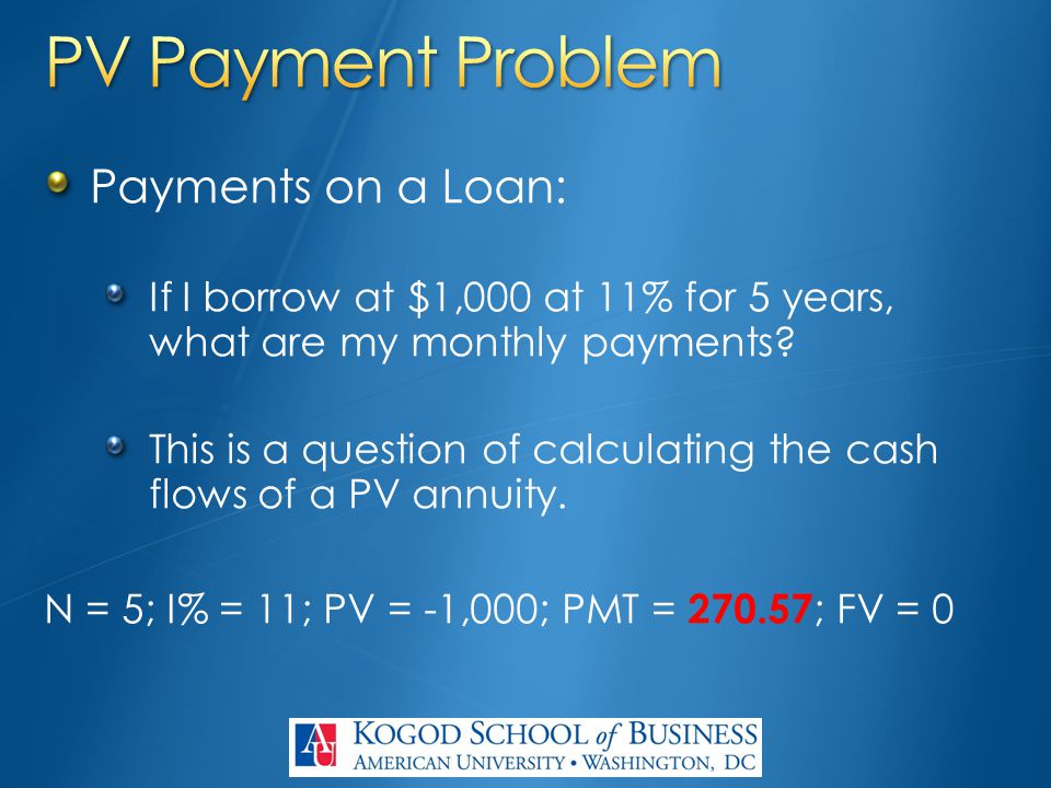 Payments on a Loan: If I borrow at $1,000 at 11% for 5 years, what are my monthly payments.