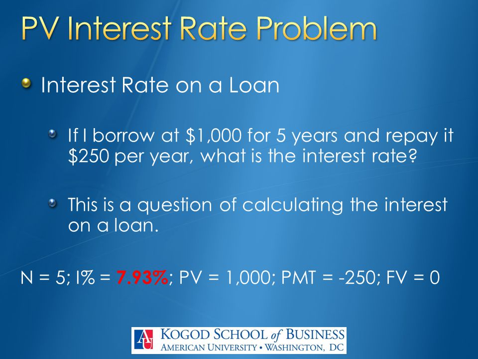 Interest Rate on a Loan If I borrow at $1,000 for 5 years and repay it $250 per year, what is the interest rate? This is a question of calculating the