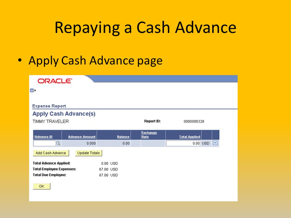 Repaying a Cash Advance Apply Cash Advance page