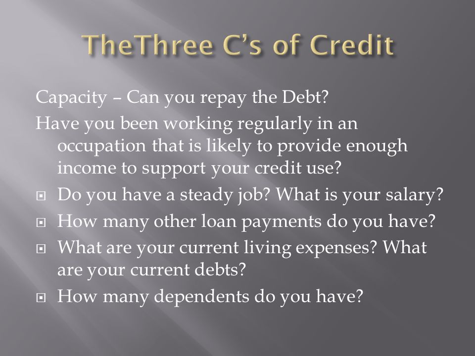 Capacity – Can you repay the Debt.