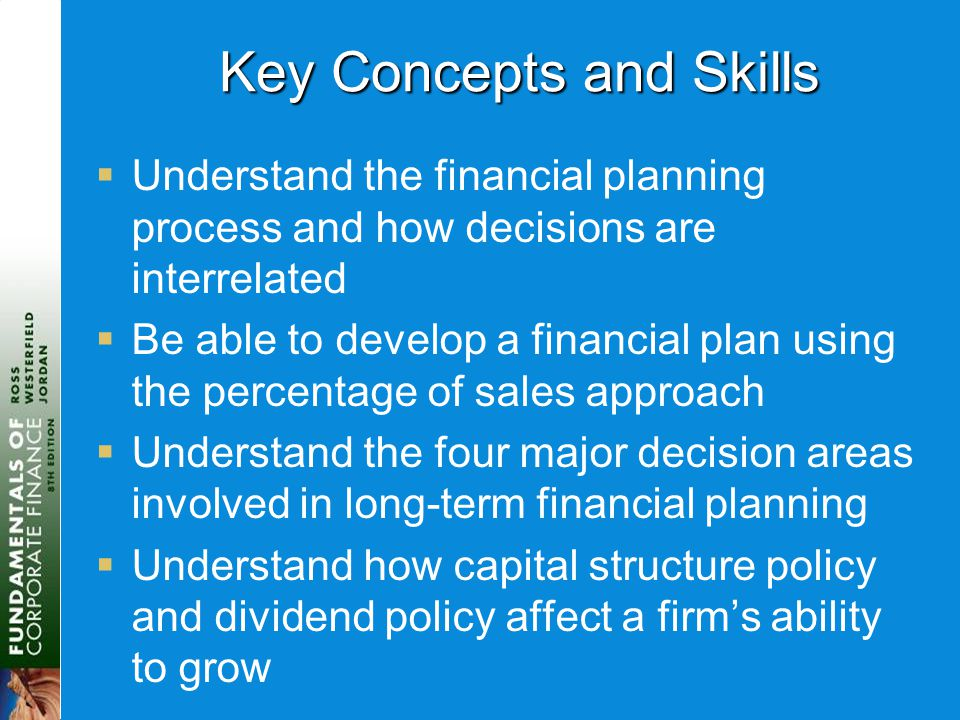 Key Concepts and Skills  Understand the financial planning process and how decisions are interrelated  Be able to develop a financial plan using the