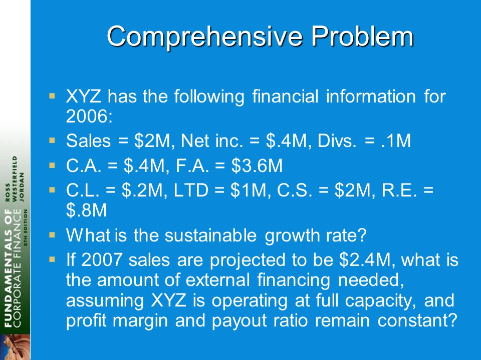 Comprehensive Problem  XYZ has the following financial information for 2006:  Sales = $2M, Net inc.