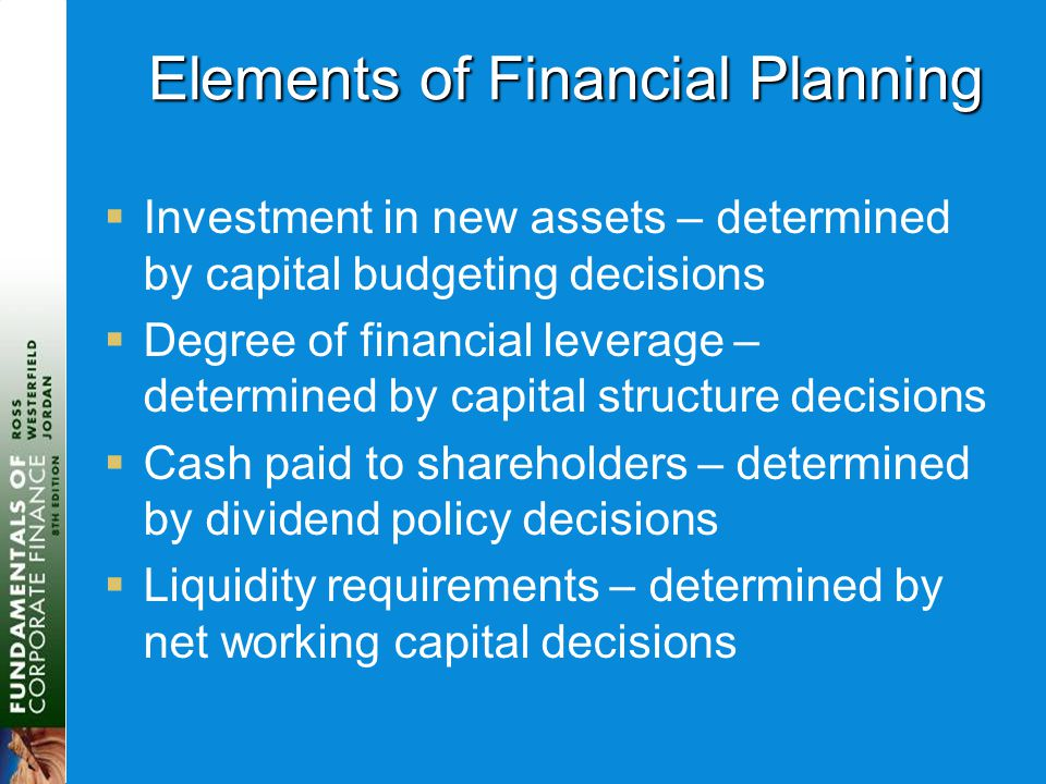 Elements of Financial Planning  Investment in new assets – determined by capital budgeting decisions  Degree of financial leverage – determined by capital structure decisions  Cash paid to shareholders – determined by dividend policy decisions  Liquidity requirements – determined by net working capital decisions