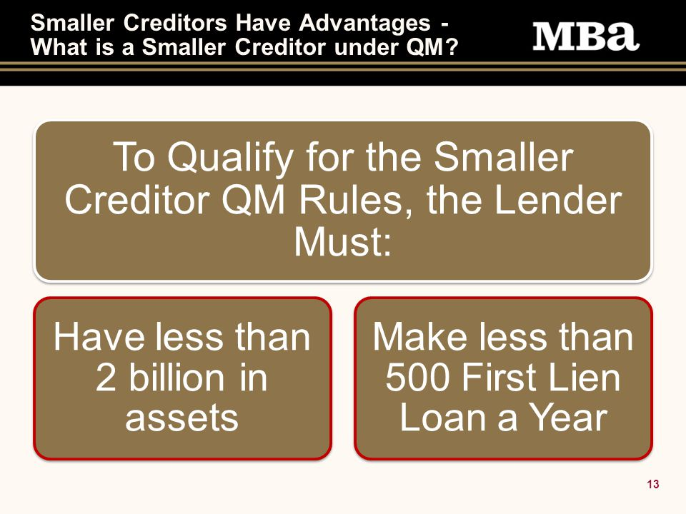 13 Smaller Creditors Have Advantages - What is a Smaller Creditor under QM.