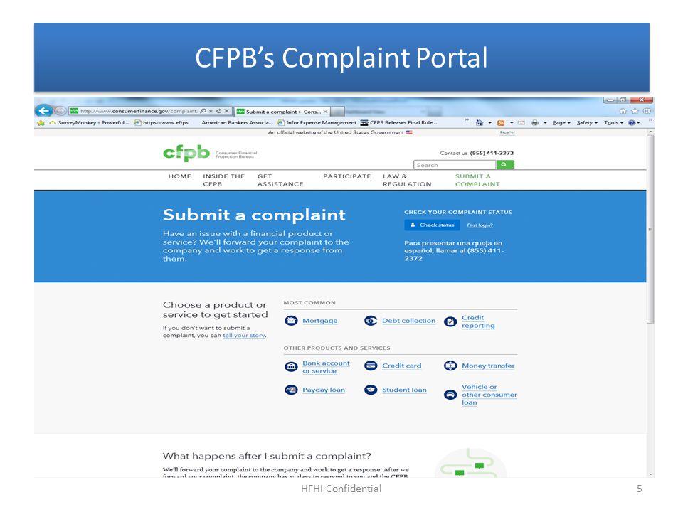 CFPB's Complaint Portal HFHI Confidential5