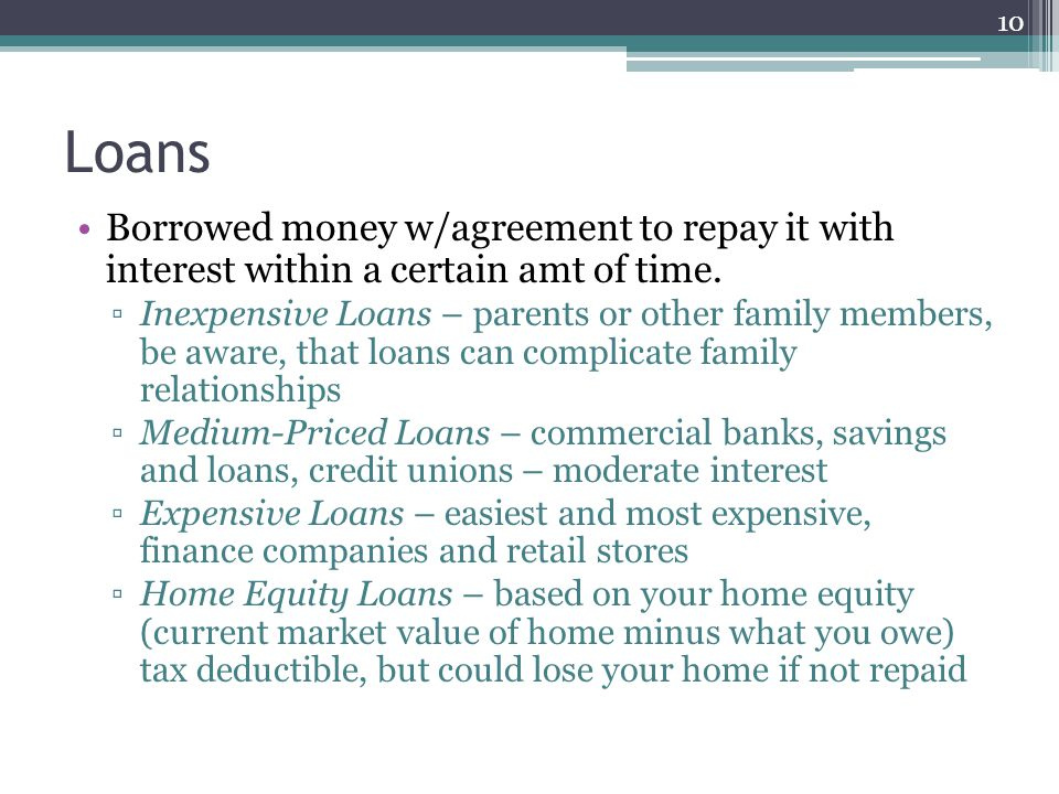 Loans Borrowed money w/agreement to repay it with interest within a certain amt of time. ▫Inexpensive Loans – parents or other family members, be awar