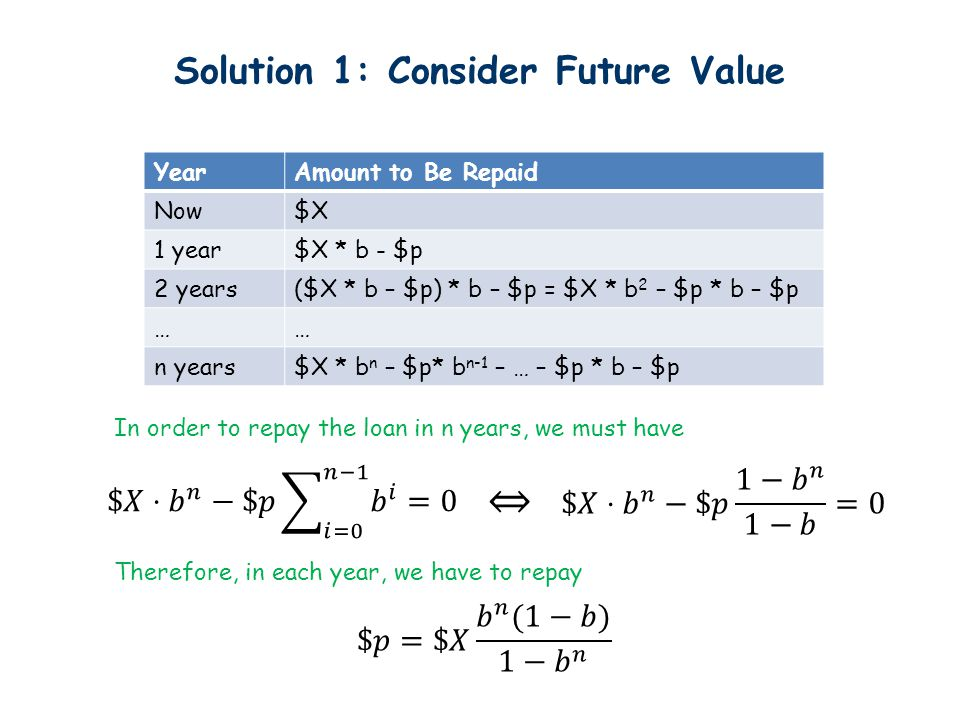 Solution 1: Consider Future Value YearAmount to Be Repaid Now$X 1 year$X * b - $p 2 years($X * b – $p) * b – $p = $X * b 2 – $p * b – $p …… n years$X * b n – $p* b n-1 – … – $p * b – $p In order to repay the loan in n years, we must have Therefore, in each year, we have to repay