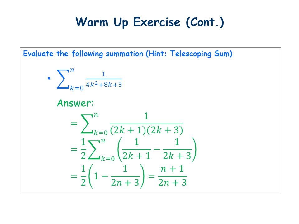 Warm Up Exercise (Cont.)