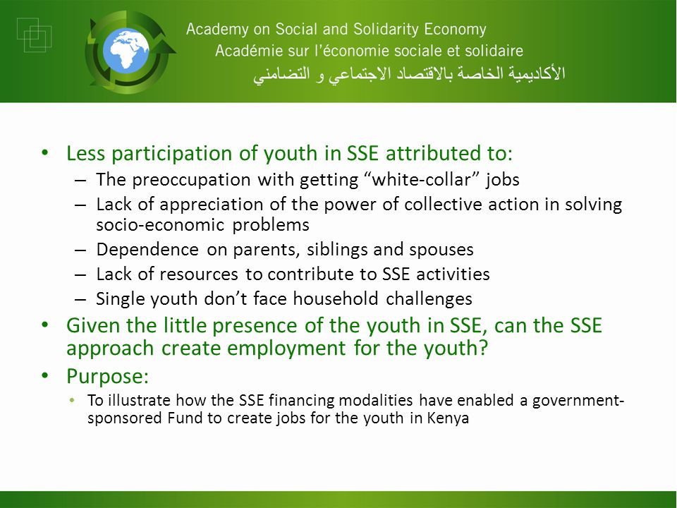 QUESTIONS What is the experience with youth participation in the SSE in your country.