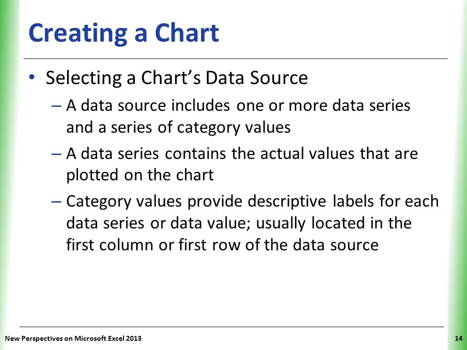 XP Creating a Chart Selecting a Chart's Data Source – A data source includes one or more data series and a series of category values – A data series contains the actual values that are plotted on the chart – Category values provide descriptive labels for each data series or data value; usually located in the first column or first row of the data source New Perspectives on Microsoft Excel 201314