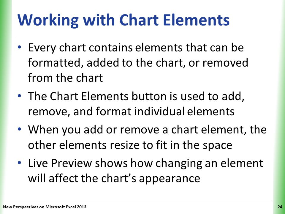 XP Working with Chart Elements Every chart contains elements that can be formatted, added to the chart, or removed from the chart The Chart Elements button is used to add, remove, and format individual elements When you add or remove a chart element, the other elements resize to fit in the space Live Preview shows how changing an element will affect the chart's appearance New Perspectives on Microsoft Excel 201324