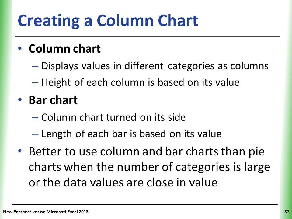XP New Perspectives on Microsoft Excel 201337 Creating a Column Chart Column chart – Displays values in different categories as columns – Height of each column is based on its value Bar chart – Column chart turned on its side – Length of each bar is based on its value Better to use column and bar charts than pie charts when the number of categories is large or the data values are close in value
