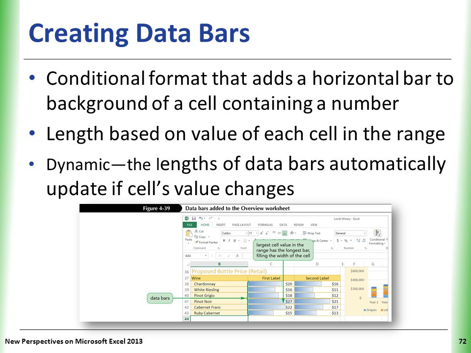 XP New Perspectives on Microsoft Excel 201372 Creating Data Bars Conditional format that adds a horizontal bar to background of a cell containing a number Length based on value of each cell in the range Dynamic—the l engths of data bars automatically update if cell's value changes