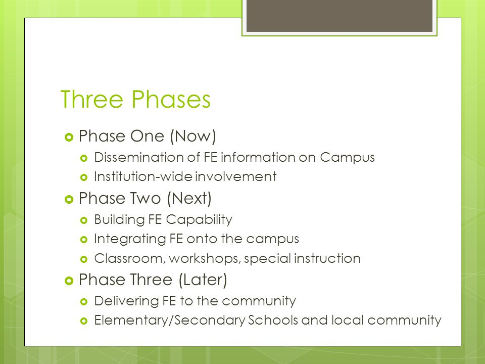Three Phases  Phase One (Now)  Dissemination of FE information on Campus  Institution-wide involvement  Phase Two (Next)  Building FE Capability  Integrating FE onto the campus  Classroom, workshops, special instruction  Phase Three (Later)  Delivering FE to the community  Elementary/Secondary Schools and local community