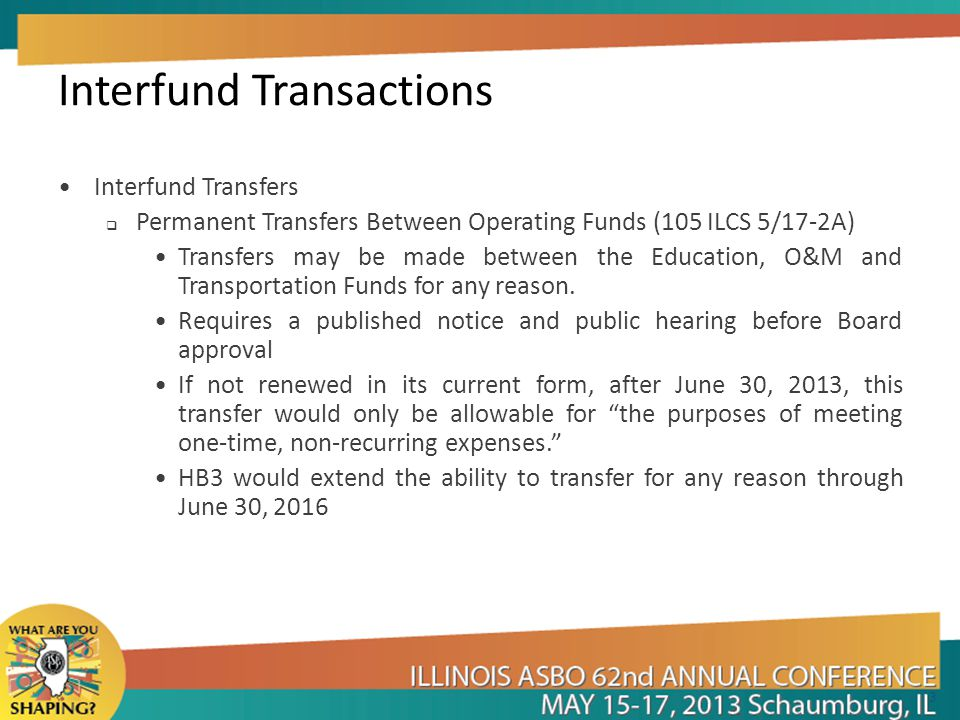 Interfund Transactions Interfund Transfers  Permanent Transfers Between Operating Funds (105 ILCS 5/17-2A) Transfers may be made between the Education, O&M and Transportation Funds for any reason.
