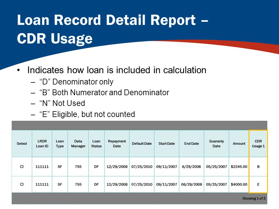 Loan Record Detail Report – CDR Usage Indicates how loan is included in calculation – D Denominator only – B Both Numerator and Denominator – N Not Used – E Eligible, but not counted