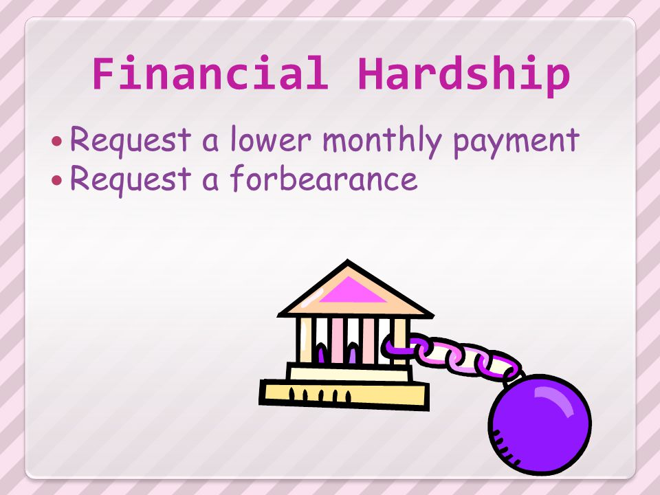 Financial Hardship Request a lower monthly payment Request a forbearance