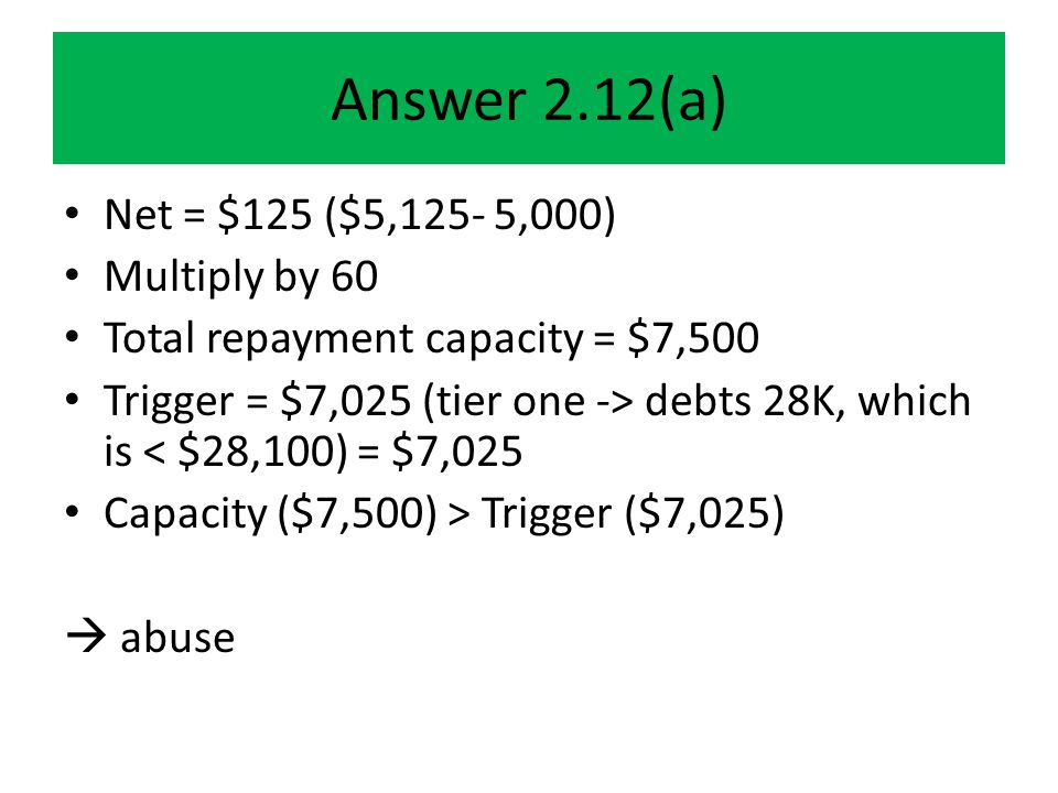 Answer 2.12(a) Net = $125 ($5,125- 5,000) Multiply by 60 Total repayment capacity = $7,500 Trigger = $7,025 (tier one -> debts 28K, which is < $28,100) = $7,025 Capacity ($7,500) > Trigger ($7,025)  abuse