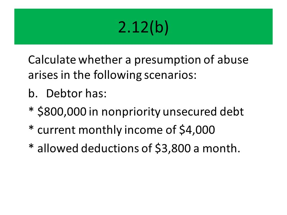 Coordinating the chapter 13 choice Since rationale of abuse test is mostly to kick supposed can-pay DRs out of ch 7, so they could (if they wish) make payments to unsecured creditors in chapter 13, MUST ask whether, in fact, chapter 13 is workable Must coordinate the ch 7 abuse test and the ch 13 plan requirements