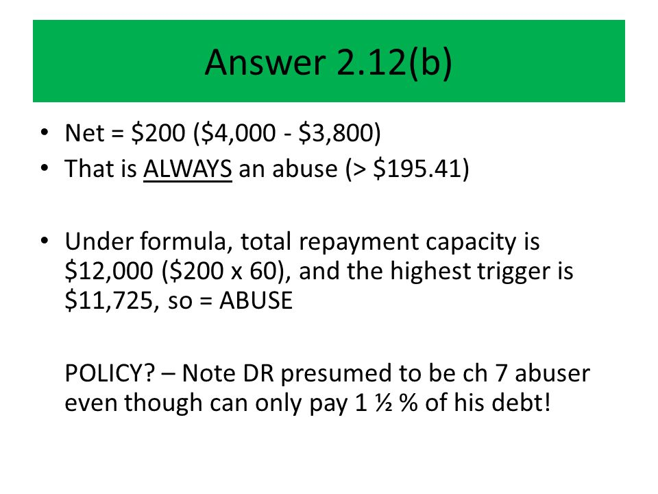 Examples of discretion Judge # 1: $250K home, mortgage = $2,100/month = ABUSER Judge # 2: $800K home, mortgage $4446; motor home $396; boat $760 ≠ ABUSER