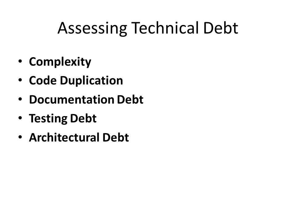 Assessing Technical Debt Complexity Code Duplication Documentation Debt Testing Debt Architectural Debt