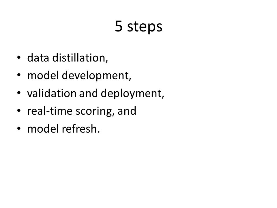 5 steps data distillation, model development, validation and deployment, real-time scoring, and model refresh.