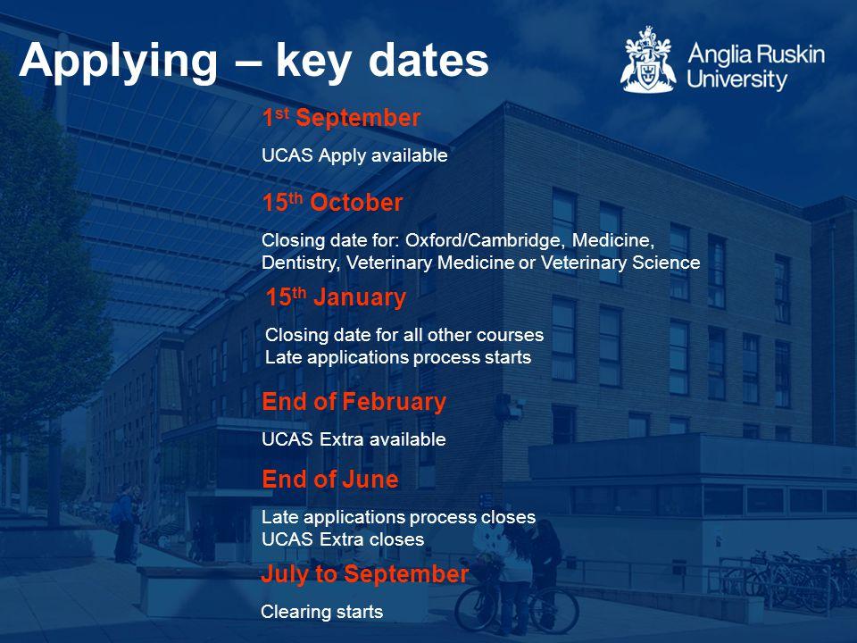 Applying – key dates 1 st September UCAS Apply available 15 th October Closing date for: Oxford/Cambridge, Medicine, Dentistry, Veterinary Medicine or