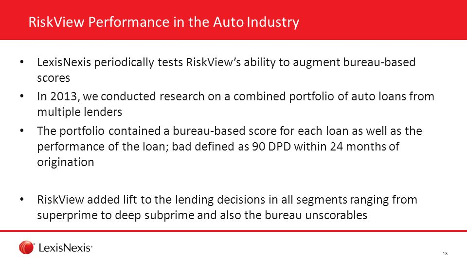 RiskView Performance in the Auto Industry LexisNexis periodically tests RiskView's ability to augment bureau-based scores In 2013, we conducted research on a combined portfolio of auto loans from multiple lenders The portfolio contained a bureau-based score for each loan as well as the performance of the loan; bad defined as 90 DPD within 24 months of origination RiskView added lift to the lending decisions in all segments ranging from superprime to deep subprime and also the bureau unscorables 18
