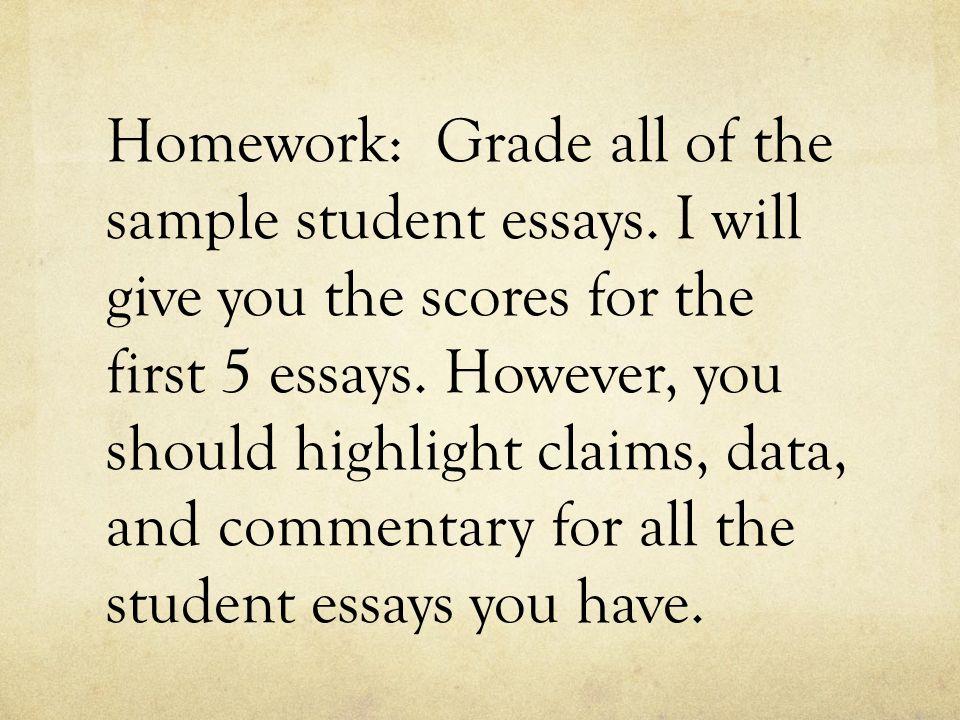 Homework: Grade all of the sample student essays.