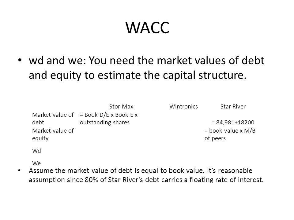 WACC wd and we: You need the market values of debt and equity to estimate the capital structure. Assume the market value of debt is equal to book valu