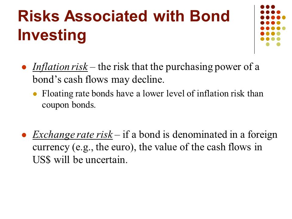 Risks Associated with Bond Investing Inflation risk – the risk that the purchasing power of a bond's cash flows may decline. Floating rate bonds have