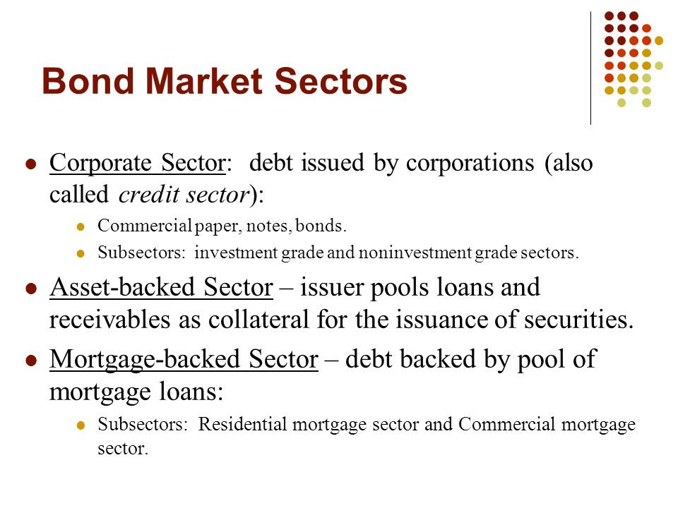 Bond Market Sectors Corporate Sector: debt issued by corporations (also called credit sector): Commercial paper, notes, bonds. Subsectors: investment