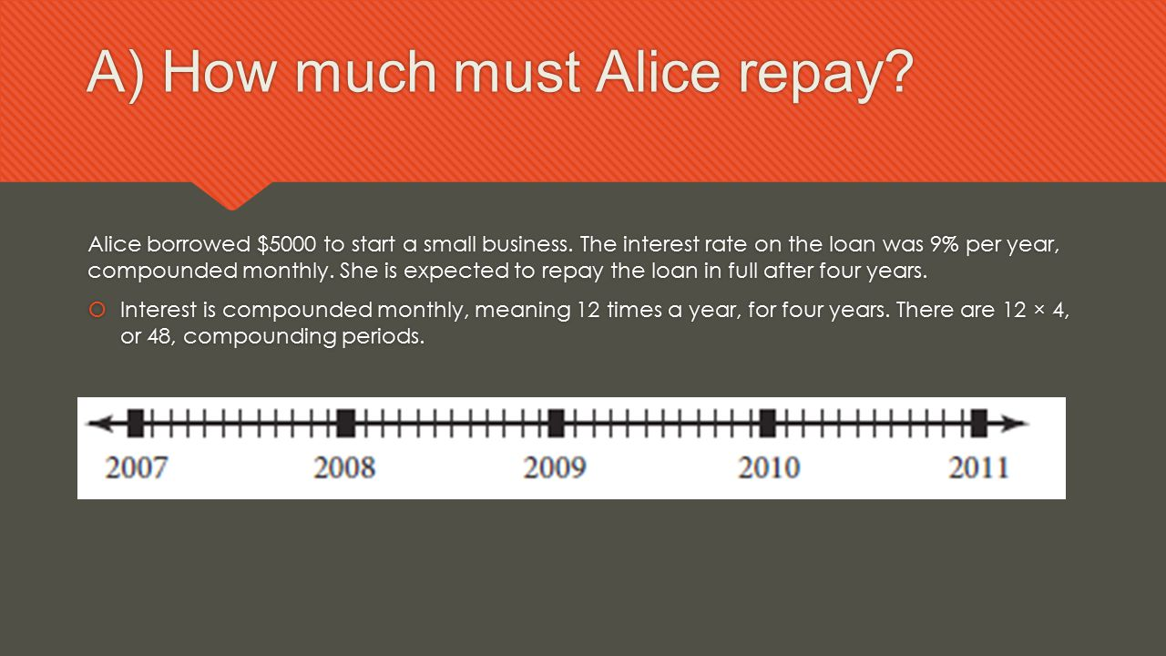 A) How much must Alice repay? Alice borrowed $5000 to start a small business. The interest rate on the loan was 9% per year, compounded monthly. She i