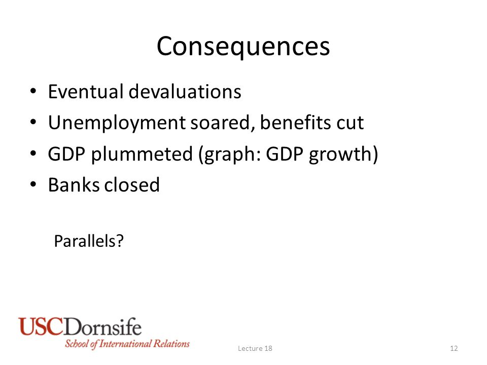 Consequences Eventual devaluations Unemployment soared, benefits cut GDP plummeted (graph: GDP growth) Banks closed Parallels? Lecture 1812
