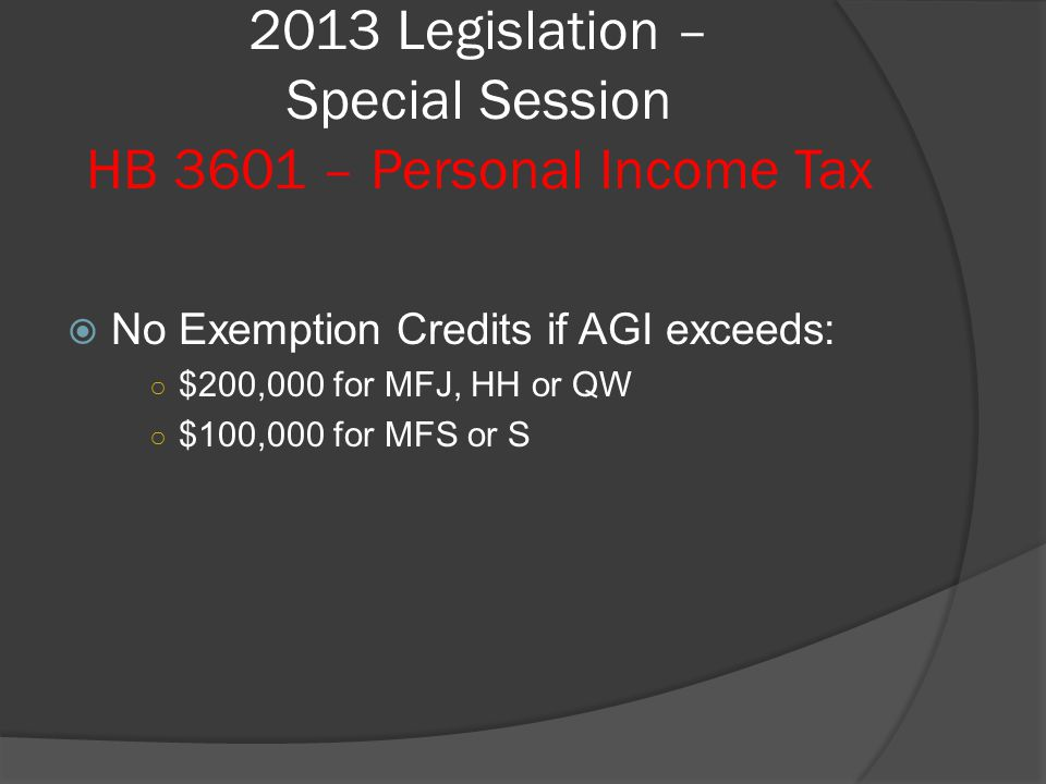 2013 Legislation – Special Session HB 3601 – Personal Income Tax  No Exemption Credits if AGI exceeds: ○ $200,000 for MFJ, HH or QW ○ $100,000 for MFS or S