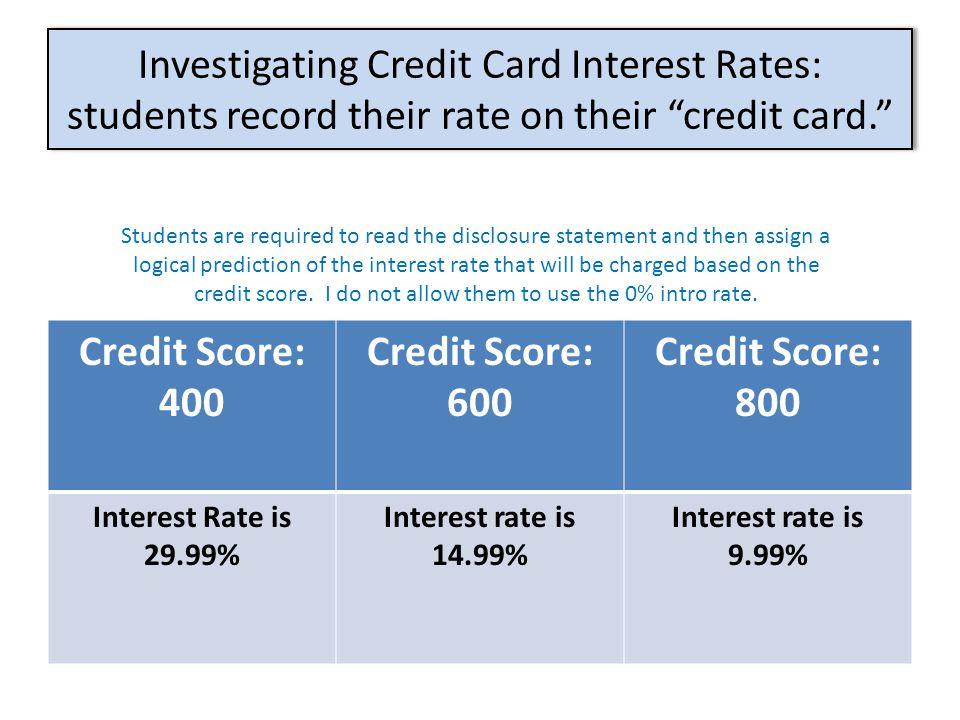 "Investigating Credit Card Interest Rates: students record their rate on their ""credit card."" Credit Score: 400 Credit Score: 600 Credit Score: 800 Int"